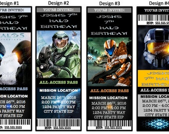 8 Pack HALO Birthday Party Invitations PERSONALIZED w/ Envelopes Boy Many to choose from!