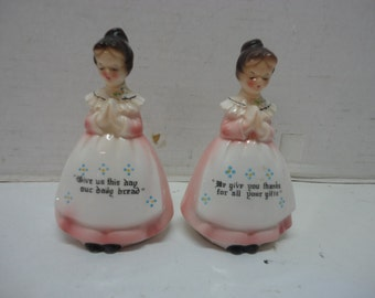 """Vintage Porcelain China or Ceramic Girls Ladies Praying Salt & Pepper Shakers """"We Give You Thanks For All Your Gifts"""" """"Give Us This Day Our"""""""