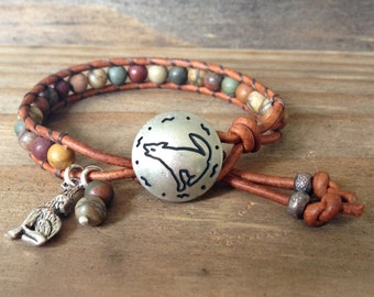 Leather Beaded Wrap Bracelet with Red River Jasper Stone Beads,  Coyote Button, Cowgirl, Gift for Her