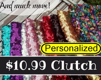 Sparkle Sequin Bridesmaid gift , gold, silver, pink, turquoise, red, purple , silver sequin clutch , sequin purse,sequin makeup bag