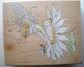 FAIRY on DAISY Rubber Stamp.  Stamps Happen Inc. X-Large Rubber Stamp