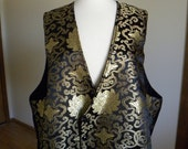 Black Satin Vest with Chinese Lotus, Plus Size, Oriental Vest, Chinese New Year,