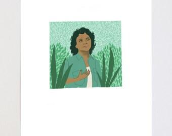 Berta Cacares Portrait Illustration Art Print
