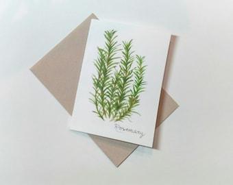 "Original Rosemary Watercolor Card 5""x7"" / Herb Painting/ Food Wall Art/ Kitchen Decor/ Herb Art Decor/Culinary Herbs"