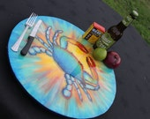 """Coastal Home Kitchen Decor, Blue  Crab Lazy Susan, Hand Painted 18"""" Crazy Crab, Turntable,  Hand Painted, Epoxy Finish, Conversation Piece!"""