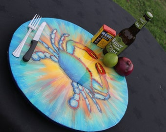 Astrology gift, Blue crab, Cancer, birthday gift, Lazy Susan, kitchen decor, funky fish art for a coastal home, by Texas Artist Janet DIneen