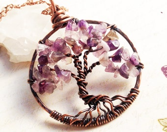 Tree of Life Necklace, Amethyst Copper wire wrapped talisman necklace, wire work, light purple, yellow, holiday gift for her, alira jewelry