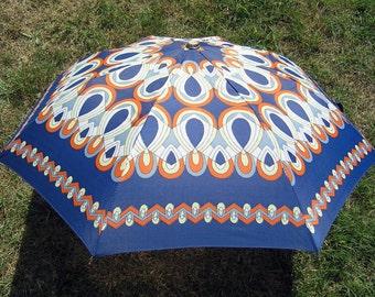 Vintage Umbrella, Retro Rain or Sun Umbrella Blues Orange Yellow, Mid Century Collapsible Umbrella, Vintage 1960 Automatik Umbrella Germany