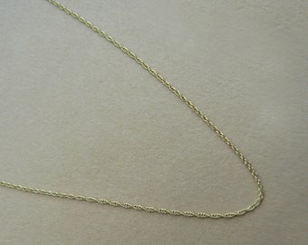 """9ct gold fine rope chain -  16"""" (40cm) or 18"""" (45cm) long suitable for pendant"""