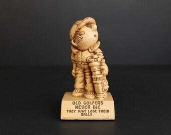 Vintage Old Golfers Figurine by Paula 1969 Kitsch Staue w-129