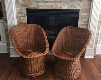 Vintage Pair Chairs Rattan Hand Crafted Woven Retro Golden Honey Natural Bohemian Chic Inspired Buri Mid Century Furniture Queen Arm Chair