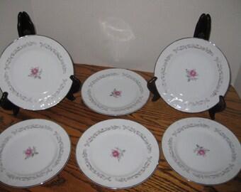 Vintage Set of 8 Bread Plates, Dessert Plates, Royal Swirl Fine China, Shabby Chic