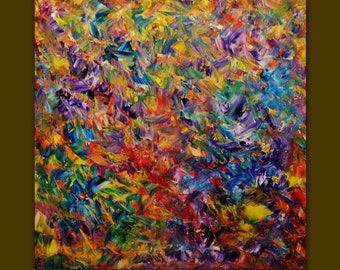 Oil painting on Canvas palette knife Contemporary colors Mixed