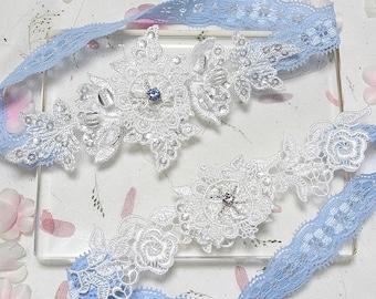 Blue garter set, wedding garter set, lace garter set, lace garters, white garter set, something blue rhineston garter set