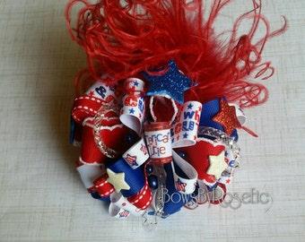 Ready To Ship American Cutie 4th of July OTT Loopy Hair Bow Ostrich Puff Girls Holiday Headband