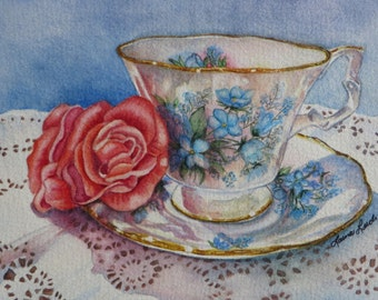 Downton Abbey's Lady Cora Teacup Reproduction Print NEW!