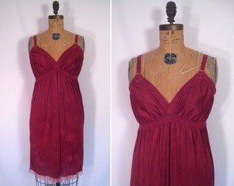 hand dyed vintage slip dress -  wine • upcycled slip dress • revamped vintage slip