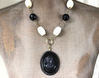 Modern CAMEO Necklace, Big Bold Beautiful Black and Cream Vintage Cameo Necklace, Romantic Jewelry, up-cycled Jewelry veryDonna