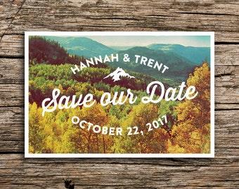 Autumn Mountain Postcard Save the Date // Fall Wedding October Wedding Mountain Save the Date Mountain Wedding Postcard Autumn Hipster Trees
