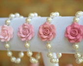 1 pcs Pink Shade Rose and pearls Bracelet, Hot Pink Rose Bracelet, Flower Bracelets, Pink Wedding Theme Jewelry