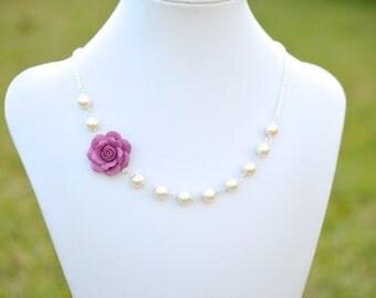 FREE EARRINGS. Alice Asymmetrical Necklace in Dusty Plum Rose.