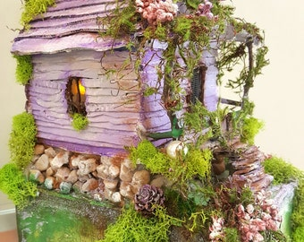 Lavender dreams fairy house with light
