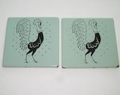 2 Vintage Green Porcelain Frigidaire Rooster Trivets Hot Pads