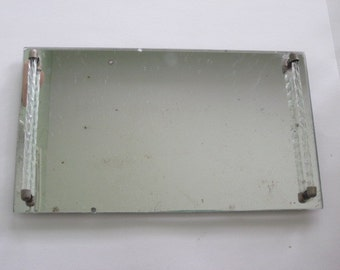 Vintage Mirrored Vanity Tray with Glass Handles