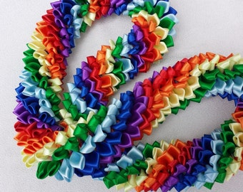 Hawaiian Rainbow ribbon lei