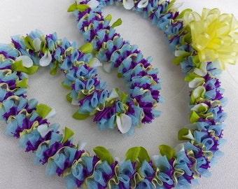 Blue star flower ribbon lei