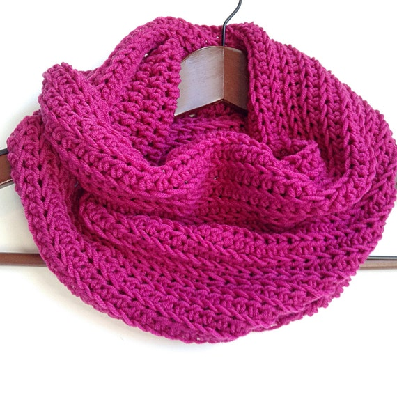 Crochet Patterns Merino Wool : Merino Wool Cowl, Blue Crochet Wool Scarf, Red Wool Infinity Scarf