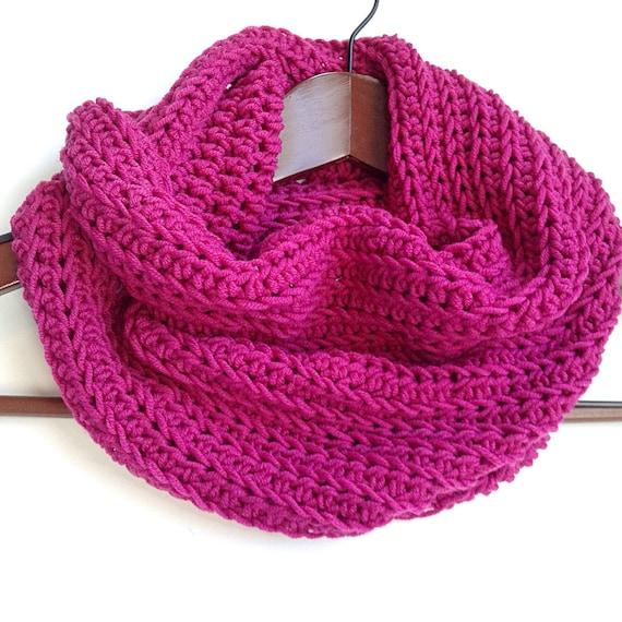 Merino Wool Cowl, Blue Crochet Wool Scarf, Red Wool Infinity Scarf