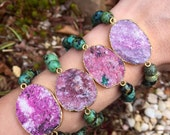 Pink cobaltoan Calcite & african turquoise  stretch bracelet