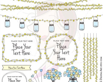 Fairy Lights Mason Jars Clipart - String Lights Digital Frames and Floral Graphics perfect for Save The Date, Wedding - Commercial Use 10708