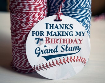 Personalized BASEBALL Gift Tag, Baseball Party Favors, Personalized Gift Tags, Baseball Birthday, ANY AGE, Happy 7th Birthday, Sports Labels