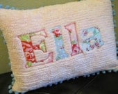 Shabby Chic Pink Personalized Name Pillow Cover 12 x 16