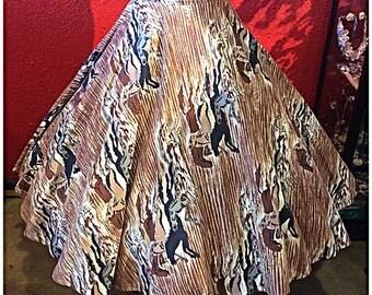1950s Novelty Print Circle Skirt Wild Horses Medium