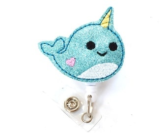Nina Narwhal - Felt Badge Holder - Cute Badge Reels - Retractable ID Badge Clips - Unique Badge Pulls - Nurse Badge Reels - BadgeBlooms