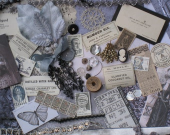 Gothic Grey Ghosts Jumbo Vintage Inspiration Kit - 187 Pieces - Fall, Halloween - Antique Papers, Lace, Ribbons, Trims, Ephemera - Supplies,