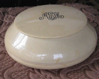 Large Antique Celluloid Powder Box - With Lid & Monogram - Vintage Home Decor, Storage, Dresser - Shabby Chic - Art Deco, Hollywood Regency