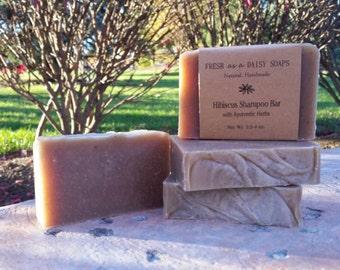 Hibiscus Shampoo Bar, Handmade Cold Process Soap, 100% Natural, VEGAN, Ayurvedic Shampoo Bar