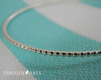 Beaded Sterling Silver Bangle Bracelet - beaded ball texture stacking round thin dainty twist shiny jingle. Metalsmith.