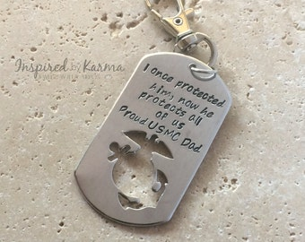 Proud Military Dad Key Chain,Army Dad,Marine Dad,Navy Dad,Personalized Keychain,Military Jewelry,gifts under 30,personalized gifts,USMC,USMA