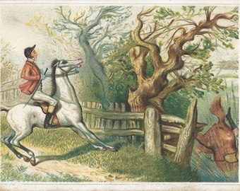 A Warranted Refusal - Antique 1800s Foxhunt Equestrians and Horses Trade Card Blank