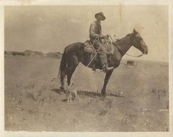 Fox Catcher - Antique 1910s Man, Horse and Fox Silver Gelatin Print Photograph