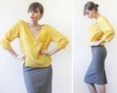 Vintage sun yellow cotton gypsy bohemian elbow sleeve shirt blouse top