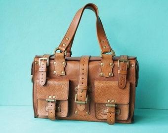MULBERRY vintage thick camel brown leather monogram big travel handbag bag