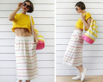 70s Vintage white colorful striped knit A-line ankle length midi skirt S M