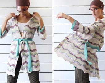 MISSONI vintage white colorful chevron stripe knit bell sleeve boho open long duster cardigan coat