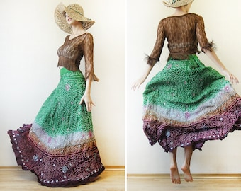 Green brown pure silk mirror bead embroidery folk boho floor length full flared maxi skirt XL